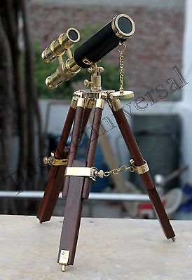 Nautical Brass Telescope With Wooden Stand Vintage Desk Telescope Home & Office