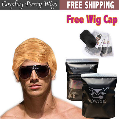 Cosplay Wig Donald Trump President Style Billionaire Blonde Hair for Fans Dress