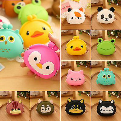 Women Girl Wallet Kawaii Cartoon Animal Silicone Jelly Coin Bag Purse Kids Gift