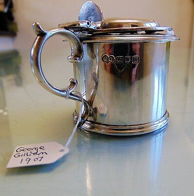 Antique Sterling Silver Mustard Pot 1907 George Gilliam Silversmith
