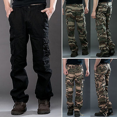 Mens Camo Military Combat Cargo Pants Casual Baggy Outdoor Sports Work Trousers