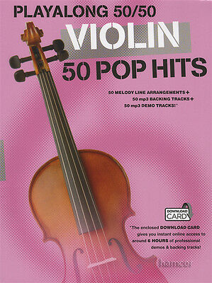 Playalong 50/50 Violin 50 Pop Hits Sheet Music Book with Audio Download Card