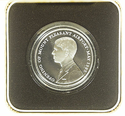 Falkland Islands, Mount Pleasant Airport Crown, Silver Proof, Cased, 1985