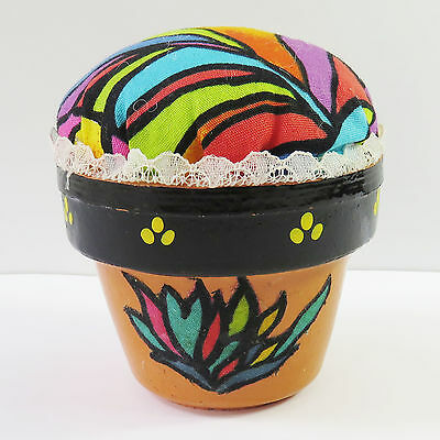 Vintage Retro Colourful Pin Cushion Flower Plant Pot Planter