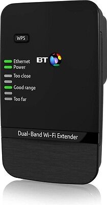 BT Dual-Band Wi-Fi Range Extender 600 Wireless Signal Booster Repeater Kit Black