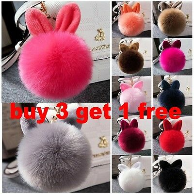 Rabbit Ear Faux Fur Keychain HandBag Pendant Charm Soft Pompom Ball Car Key Ring