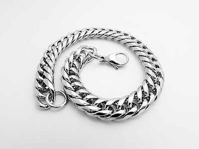 Bracelet Stainless Steel Silver Polished Curb Cuban Chain cuff 9 MM Unisex