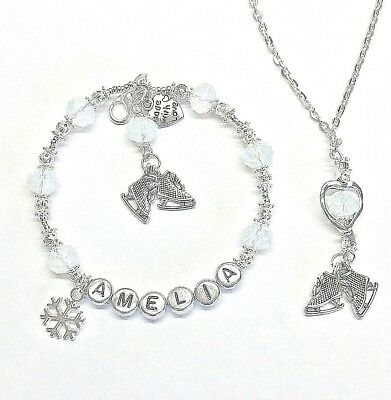 Personalised Jewellery:silver Crystal Ice Skating Charm Bracelet & Necklace Gift