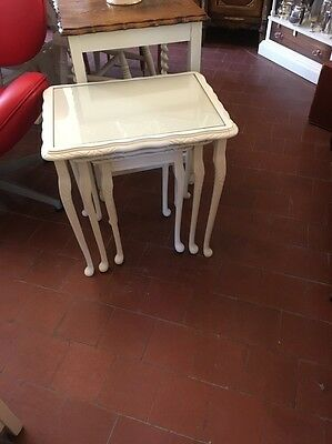Shabby Chic Vintage Nest Of Three Tables With Glass Protected Tops