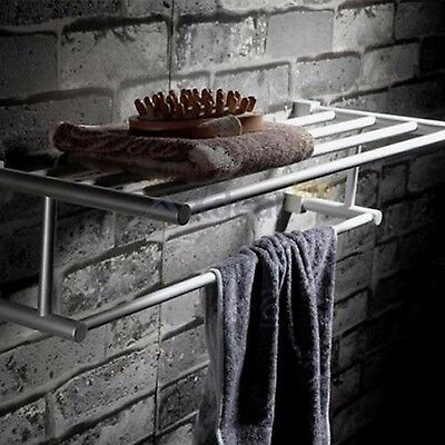 Durable Aluminum Towel Bar Set Rack Tower Holder Hanger Bathroom Hotel Shelf K5Y