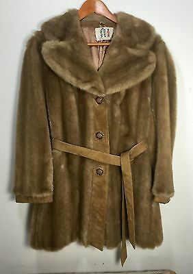 VTG Faux Fur and Suede Coat Made In England Women's Size Medium