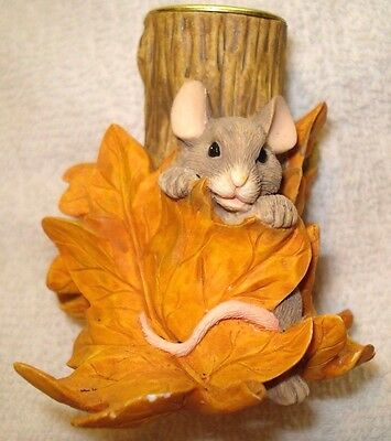 Charming Tails Stump Candleholder Hiding Vintage Rare Signed 85/516 Griff