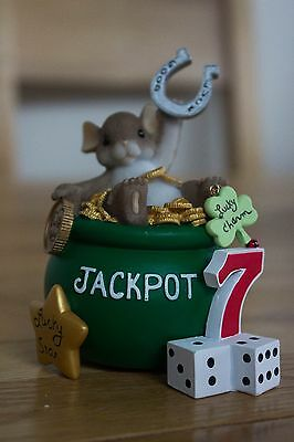 """NEW Collectables Charming Tails-""""Wishing You Lot's Of Luck""""Mouse Figure/Ornament"""