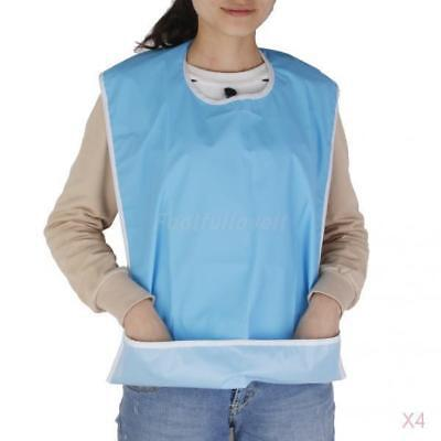 4pcs Adult Washable Bib Eating Dinner Cloth Protector Disability Aid Aprons Blue
