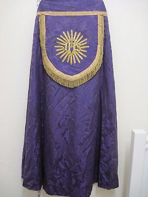 Vintage Ecclesiastical Vestment,Cope Priest,Liturgical,Church Cloak.Purple/Gold