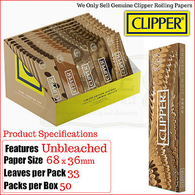 Clipper Pure Brown Unbleached Regular Rolling Papers - Multi Listings & Full Box