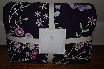 NWT Pottery Barn Kids Sonja Embroidered Floral FQ quilt plum purple full queen