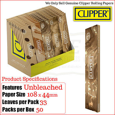 Clipper Kingsize Slim Pure Brown Rolling Papers - Multi Listings & Full Box