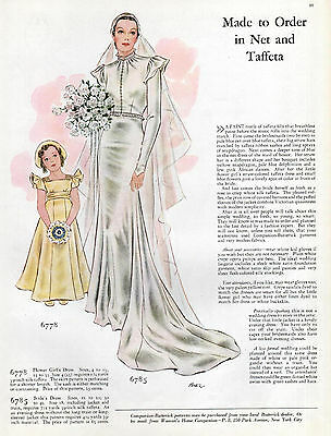 Wedding Dress Ad Sewing Pattern Women's Fashion 1930s Butterick Patterns Shower
