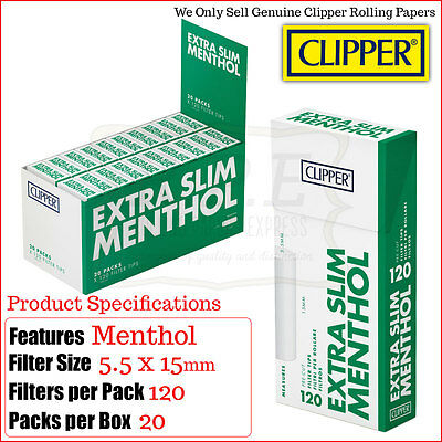 Clipper Extra Slim Menthol Filter Tips - 3/6/10 & 20 Boxes
