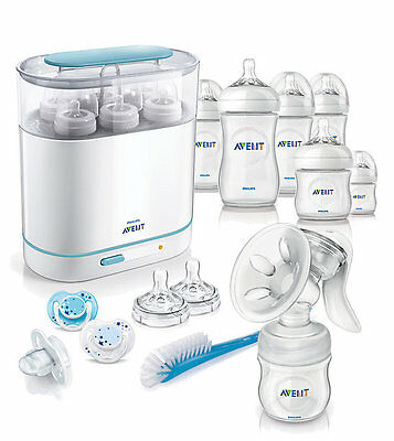 Philips Avent Complete Natural Starter Set BPA Free Bottle Sterilizer Pump Brush