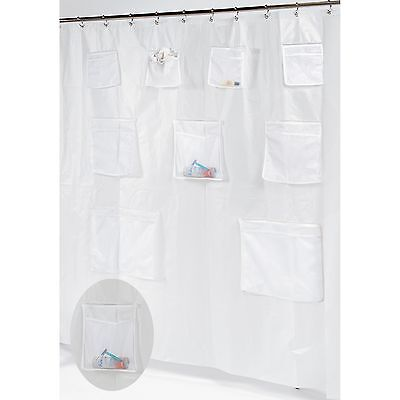 Pockets PEVA Shower Curtain/Liner with 9 Mesh Storage Pockets / frosty clear