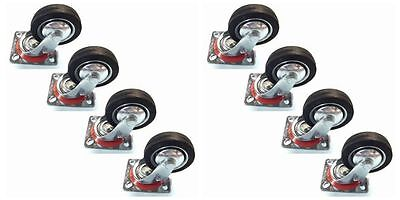 """8 Pack Swivel Caster Wheels 3"""" Rubber Base with Top Plate & Bearing Heavy Duty"""