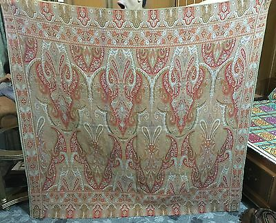 Antique Asian Indian Large 19Th Century Kashmir Style Square Shawl Paisley
