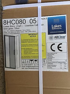 New Boxed Corner Opening Lakes Shower Enclosure 700x800mm Silver