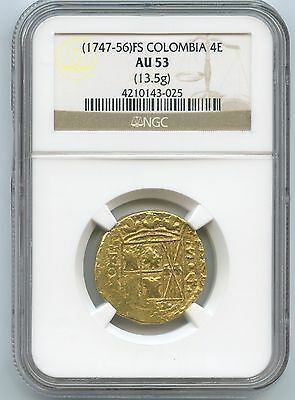 1747-56 Colombia 4 Escudos Nuevo Reino Mint 13.5G NGC AU 53 Rare In Any Grade