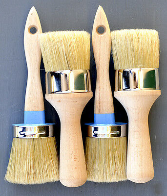 Chalk Paint Brush Kit/w/Boar Bristles 2 Med Pro Paint & 2 Wax Pro Wax Brushes