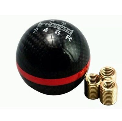 Mugen Real Carbon Fibre 6 Speed Gear Shift Knob Red Stripe DC5 EP3 Type R S2000