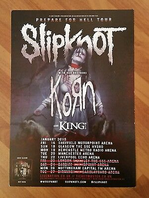 """SLIPKNOT / KORN: 2015 PREPARE FOR HELL UK Tour Flyer, 5.12x8.2"""", Collectible"""