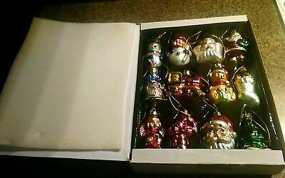 12 Ornaments Christmas Tree Glass Holiday Xmas Winter Hand Decorated Vintage