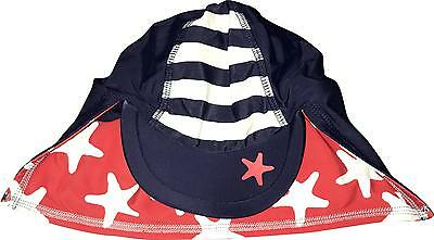 Used Baby Boys Navy & Red Star Swim Sun Hat Age 6-9 Months (S.S)