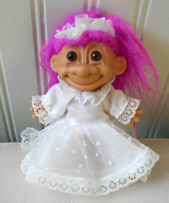 "Russ Berrie 5"" Bride Troll Pink Hair Wedding Gown Train Vintage 90s Clean"