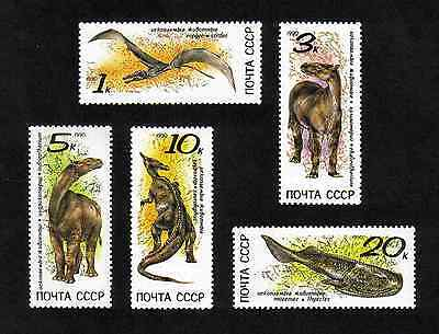 Russia 1990 Prehistoric Animals complete set of 5 values (SG 6173-6177) MNH