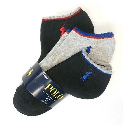 New Boys Polo Ralph Lauren 3-Pairs Black & Gray Ankle Socks Size 4-7 Shoe 10-13