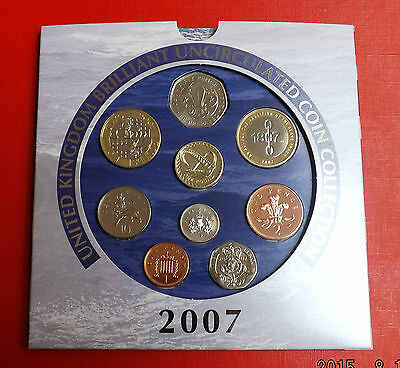 2007 Nine Coin Brilliant Uncirculated Set With Paper Work Ideal Birthday Gift