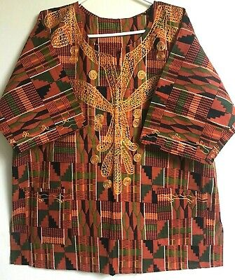Dashiki African Mens Womens Kente Print Shirt Hippie Blouse Ethnic Top Plus Size