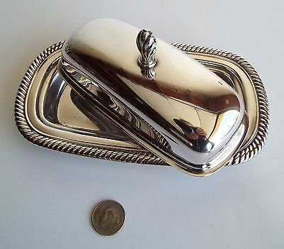 Pretty Vintage Silver Plate Butter Dish with Rope Detail