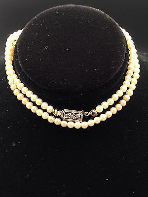 "Original Antique Victorian Seed Pearls Choker Baby Necklace 15"" White Gold 14K C"