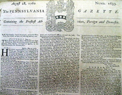 BEST 1760 American display newspaper BATTLE OF QUEBEC Canada FRENCH & INDIAN WAR
