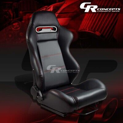 Type-R Pvc Leather+Stitch Sports Racing Seats+Mounting Sliders Passenger Side
