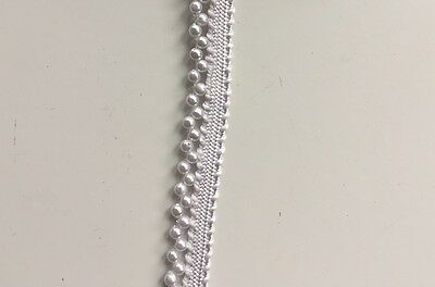 ATTRACTIVE INDIAN TINY WHITE PEARLS BEADED RIBBON LACE TRIM - SOLD by METER