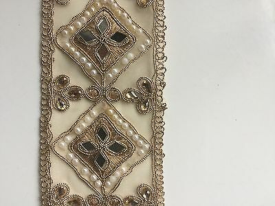 ATTRACTIVE INDIAN ROSE GOLD DiAMONDS WITH MIRRORS ON FABRIC TRIM/LACE -1 METER