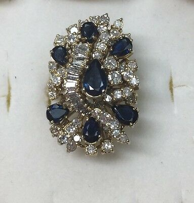6 ct natural (REAL) DIAMOND + SAPPHIRE cluster ring SOLID 14 KT yellow GOLD