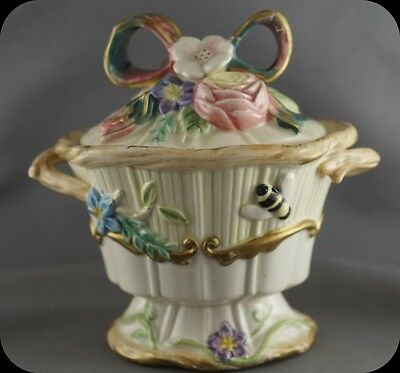 Fitz and Floyd Floral Lidded Jam Sugar Jar with Spoon Woodland Spring