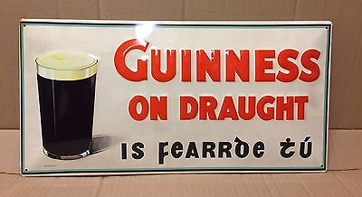 Guinness On Draught - Large Embossed Metal  Sign  ( 50 x 25 cm)