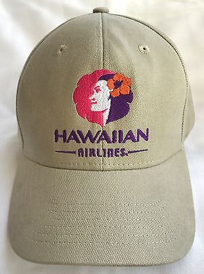 Rare Hawaiian Airlines Hat Pualani Tan New Unused Embroidered Cap Aloha